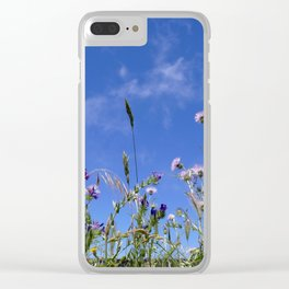 Field of blooming wildflowers on a beautiful summer day Clear iPhone Case