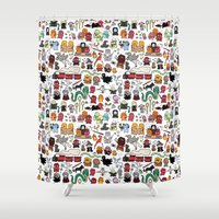 harry Shower Curtains featuring Kawaii Harry Potter Doodle by KiraKiraDoodles