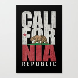 Cali Bear Flag with deep distressed textures Canvas Print