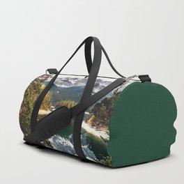 Green Blue Lake, Trees and Mountains Duffle Bag