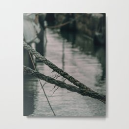 Old Sailing Ropes Italian Seashore Metal Print