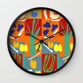 Matisse Inspired Colorful Collage #2 Wall Clock