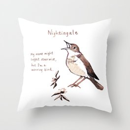 Nightingale - a Morning Bird Throw Pillow