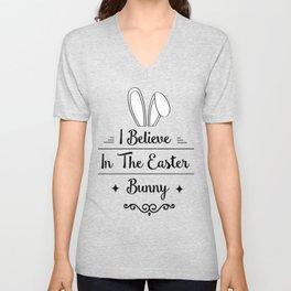 I Believe In The Easter Bunny Men Womens Kids Gift Unisex V-Neck