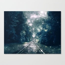 "Dream Train Tracks Teal : ""Next Stop, Anywhere"" Canvas Print"