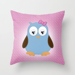Cool Hooter - Owl illustration pink and blue Throw Pillow