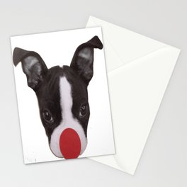 Boston Terrier Christmas Reindeer Stationery Cards