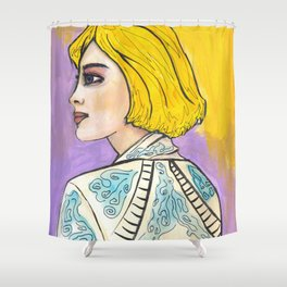 Evie Fancy and Free Lady on Purple and Gold Shower Curtain