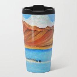 Pangong lake in pastel colours, Landscape painting. Travel Mug