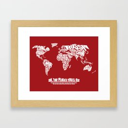Oh The Places You'll Go - World Word Map with Dr. Seuss Quote Framed Art Print