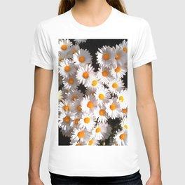 Brilliant White Daisies On Black Floral Art T-shirt
