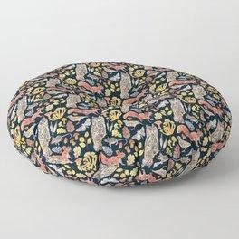 Autumn Wildlife Pattern - Dark Floor Pillow