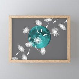 Turquoise Moon white dandelions Framed Mini Art Print