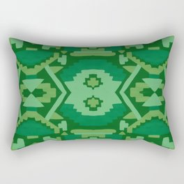 Geometric Aztec in Forest Green Rectangular Pillow
