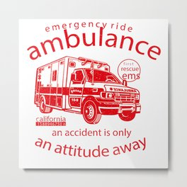 Ambulance Retro Design Metal Print