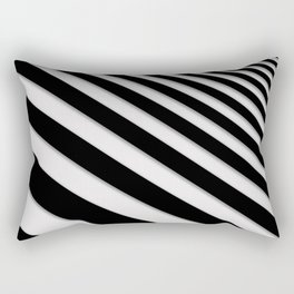 Perspective Solid Lines - Black and White Stripes - Digital Illustration - Artwork Rectangular Pillow