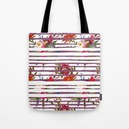 Modern pink orange tropical floral stripes pattern Tote Bag