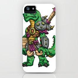 Lizard gladiator cartoon - dinosaur warrior illustration - tyrannosaurus character iPhone Case