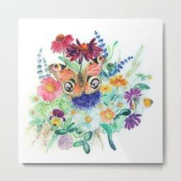 Watercolour Bouquet Metal Print