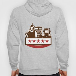 Power Washer Worker Truck Train Stars Retro Hoody