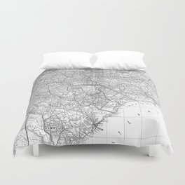 Vintage Map of The Carolinas (1891) BW Duvet Cover