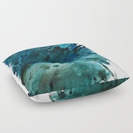 Scenic Route [2]: a pretty, minimal abstract piece in blue and green by Alyssa Hamilton Art Floor Pillow
