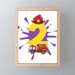 Fire Truck 2nd Birthday Firefighter 2 Yr Old Boy Framed Mini Art Print