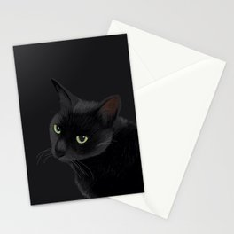 Black cat in the dark Stationery Cards