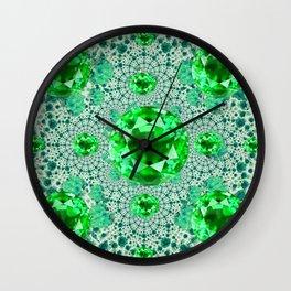 Emerald Gems May Birthstones Optical Pattern Wall Clock