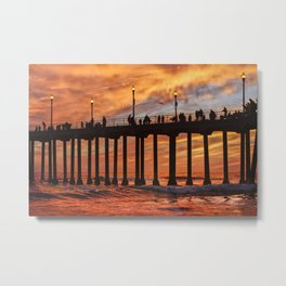 Huntington Beach Pier Pier Sunset Walkers  Metal Print