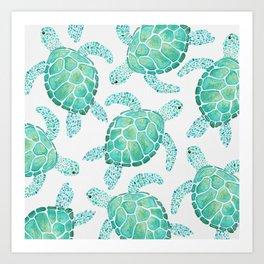 Sea Turtle Pattern - Blue Art Print