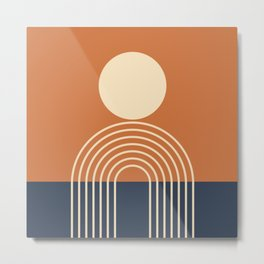 Geometric Lines in Terracotta Navy Blue (Sun and Rainbow abstraction) Metal Print