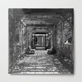 Garden Trellis- Black and White Metal Print