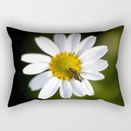 Green bug in daisy Rectangular Pillow