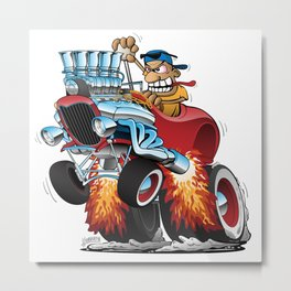 Highboy Hotrod Dragster Car Cartoon Metal Print