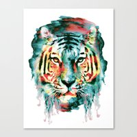 tiger Canvas Prints featuring TIGER by RIZA PEKER