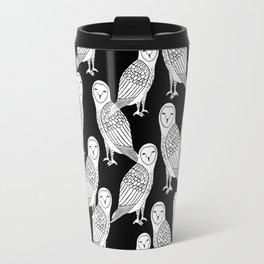 Linocut owl bird black and white minimal nursery pattern gifts birder Travel Mug
