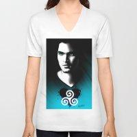 derek hale V-neck T-shirts featuring Black Heart - Derek by xKxDx