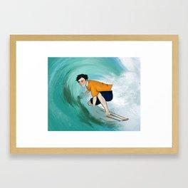 Percy Surfing Framed Art Print