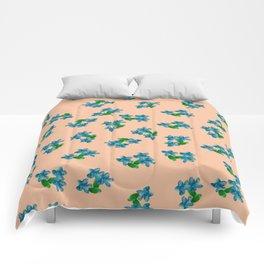 Tiny Blue Flowers on Peach Comforters