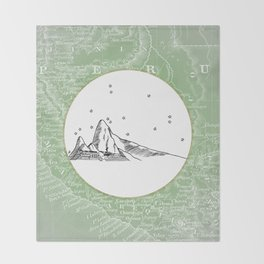 Machu Picchu, Peru, South America - Seven New Wonders Skyline Illustration Drawing Throw Blanket
