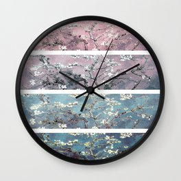 Vincent Van Gogh : Almond Blossoms Panel arT Pastel Pink Blue Teal Wall Clock