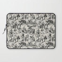 Alice in Wonderland | Toile de Jouy Pattern | Black | Beige | Vintage Pattern | Victorian Gothic | Laptop Sleeve
