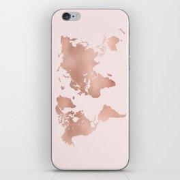 Rose Gold World Map iPhone Skin