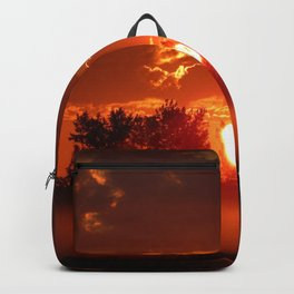 Flaming Horses over the Foggy Sunrise Backpack