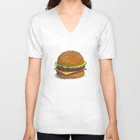 burger V-neck T-shirts featuring Burger by RedNoseBlueCheeks