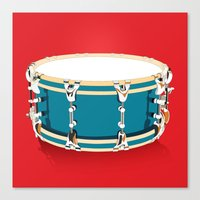 drum Canvas Prints featuring Drum - Red by Ornaart