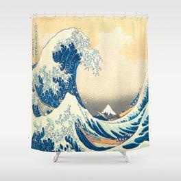 Japanese Woodblock Print The Great Wave of Kanagawa by Katsushika Hokusai Shower Curtain