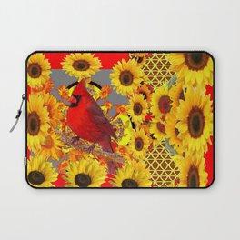RED CARDINAL BIRD YELLOW SUNFLOWERS  ABSTRACT Laptop Sleeve