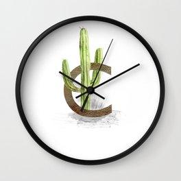 C is for Cactus - Letter C Monogram Wall Clock